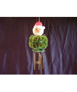 Vintage Best Ever Holiday Wind Chimes Santa Holly  - $14.00