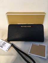 Michael Kors Jet Set Travel Large Wallet Wristlet Saffiano Leather Black - $99.00
