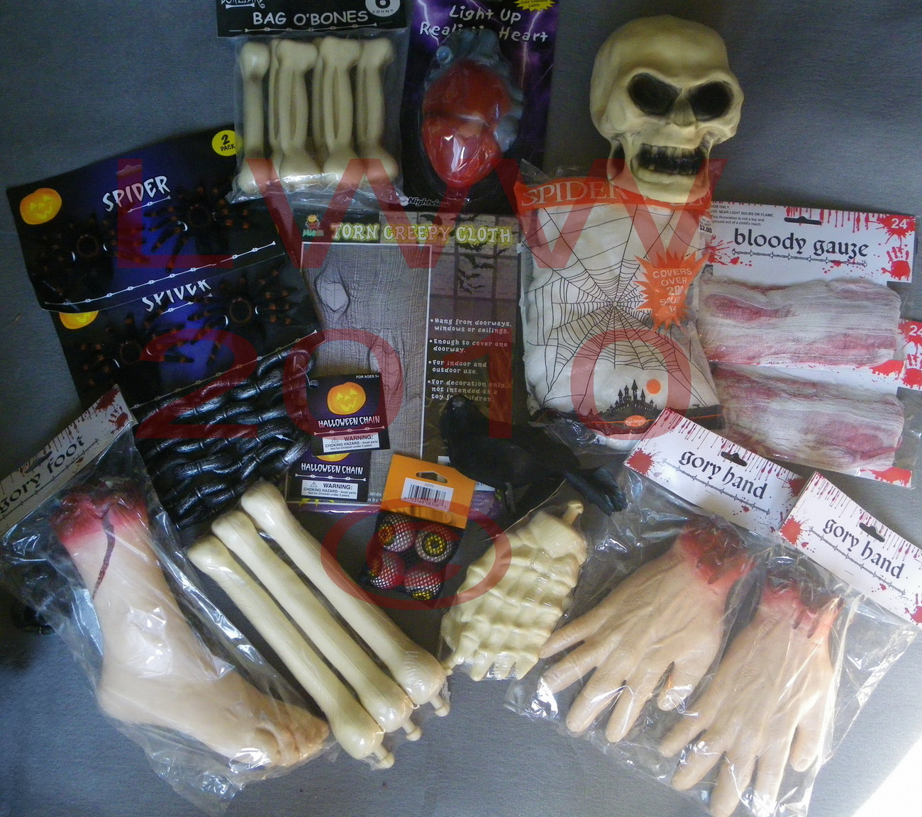Halloween Gory Body Part Spider Web 31 Piece Prop Set
