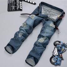 2018 NEW Style Men s Ink Jet Jeans Vintage Designer Hole Ripped Jeans for Men St - $43.86