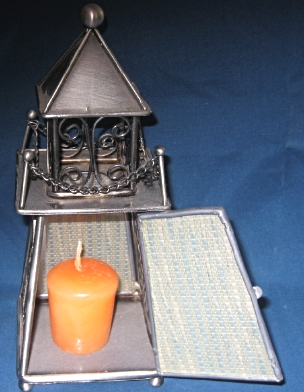 Pewter Toned Light House Tea candle holder with nautical theme