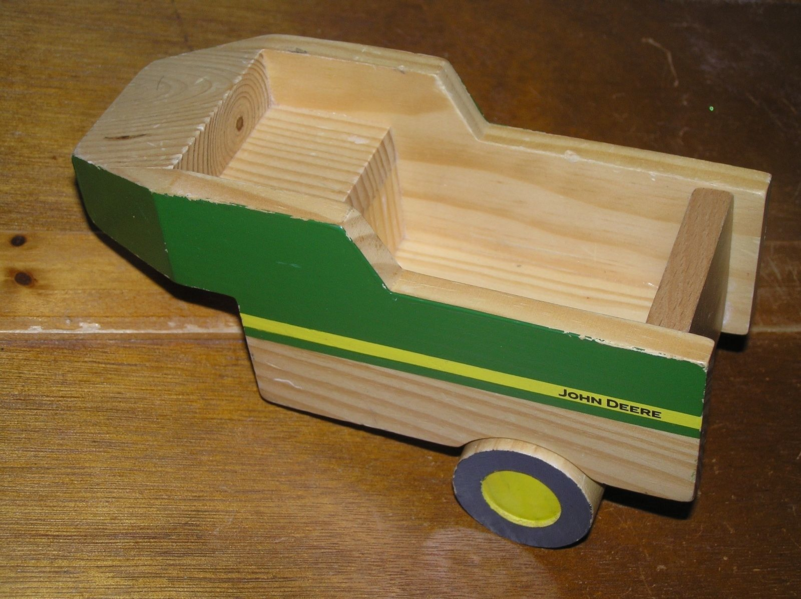 Used Learning Curved Green Yellow Painted JOHN DEERE Wood Tractor Trailer –  - $7.69