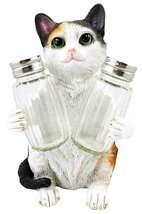 American Favorite Pet Playful Calico Cute Kitty Cat Figurine Salt Pepper... - $19.75