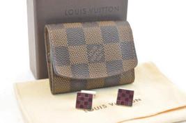 Louis Vuitton Damier Cuff Links Case / Cuff Links Silver Auth 2287 - $280.00