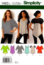 Simplicity 1463  Loose-Fitting Knit Top for Stretch Knits Only 6 Designs... - $10.00
