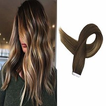 Full Shine Tape In Hair Extensions Ombre Balayage #3 Fading To #14 Highl... - $35.24