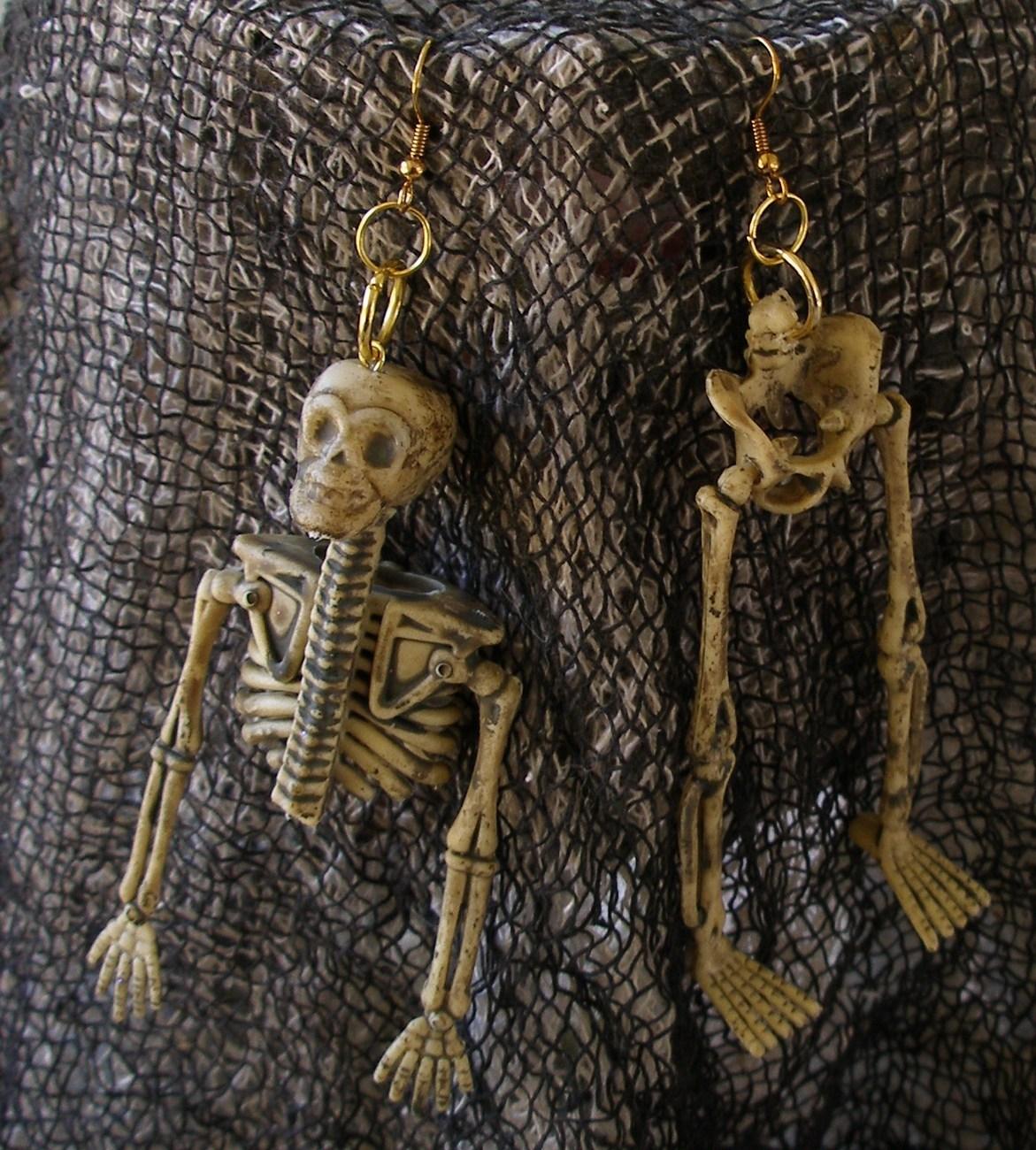 New Handmade X-Long Dangling Dismembered Skeleton Earrings