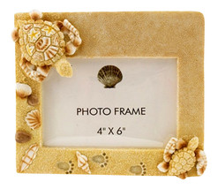 Coastal Sea Turtles in the Sand with Shells 4X6 Inch Resin Desk Photo Frame - $37.96