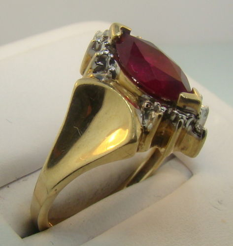 1ct Red Ruby Diamond 10k Yel Gold Ring