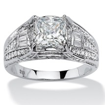 PalmBeach Jewelry 2.38 TCW Cubic Zirconia Ring in Platinum over .925 Silver - €58,24 EUR