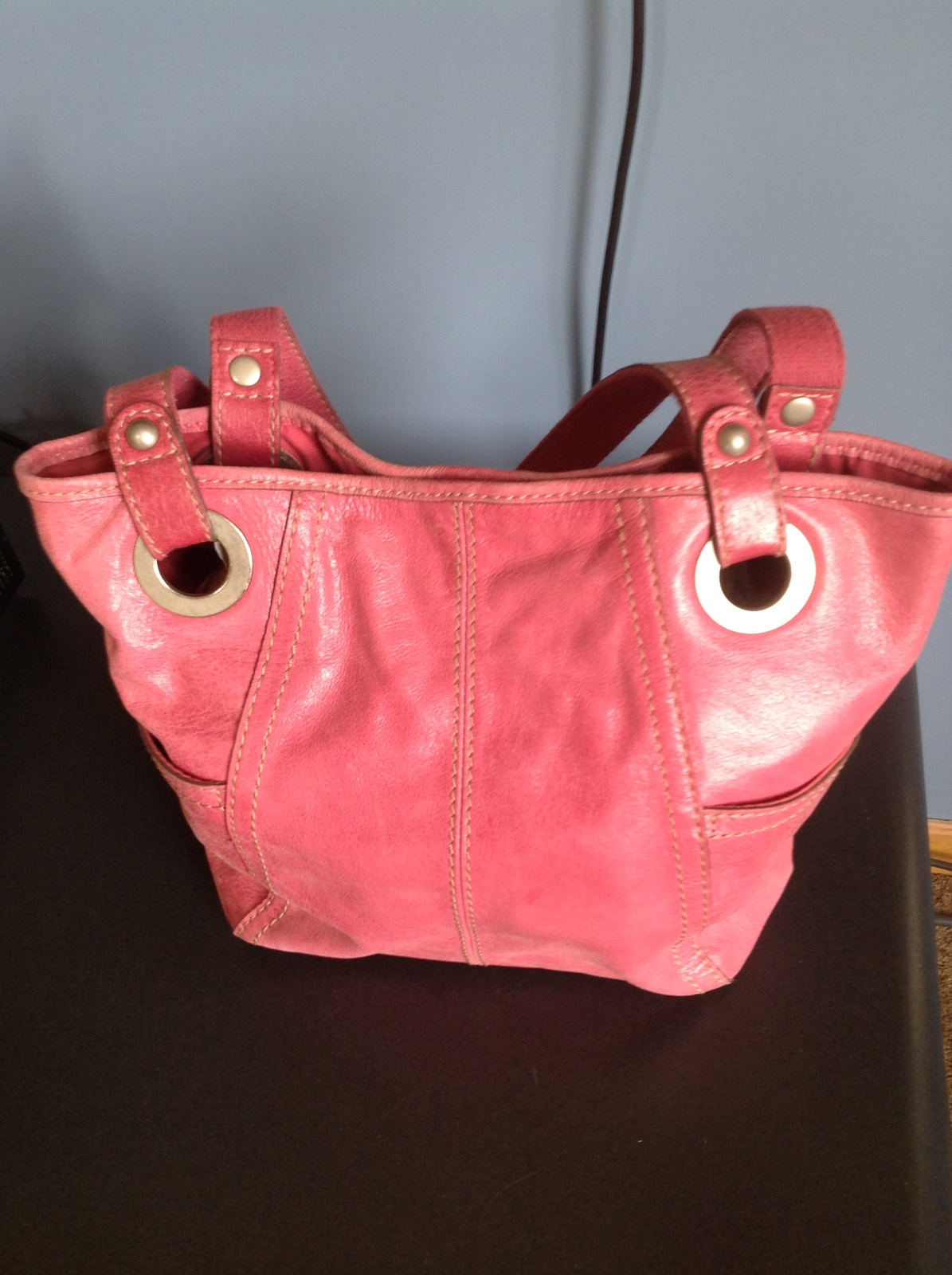 Fossil Hathaway Pink Leather Tote Handbag Purse