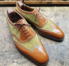 Handmade Men Green & Brown Wing Tip Brogues Style Lace Up Leather & Suede Shoes image 1