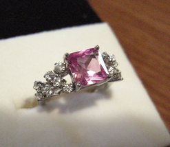 Pink Sapphire Diamond CZ Ring Platinum over Silver! - $39.00