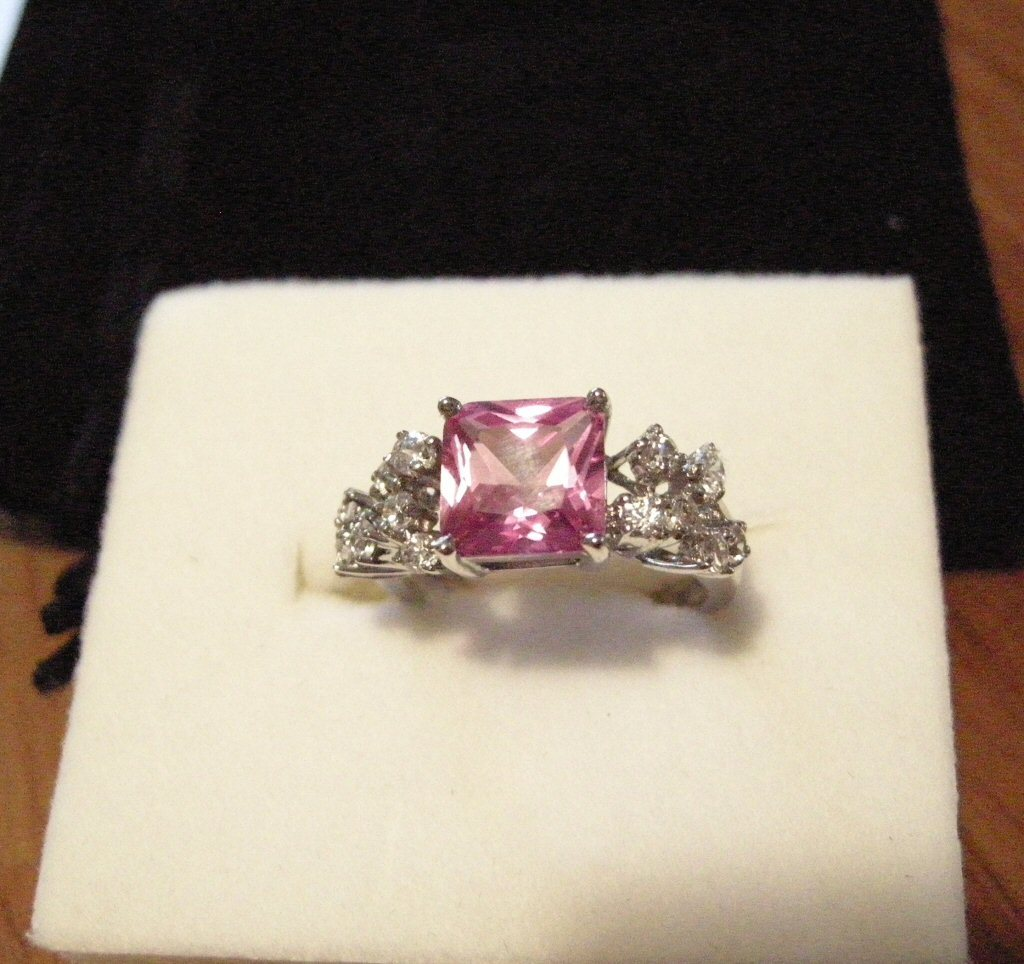 Pink Sapphire Diamond CZ Ring Platinum over Silver!