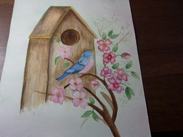 "Original Art Painting Birdhouse Blue Bird Pink Flowers! 9"" x 12"" - $3.95"