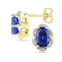 10k Yellow Gold Womens Oval Lab-Created Blue Sapphire Solitaire Diamond Earrings - $216.00
