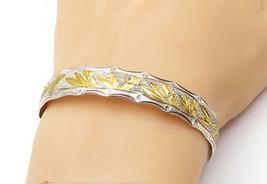 925 Sterling Silver - Vintage Shiny 2 Tone Floral Etched Bangle Bracelet... - $68.36
