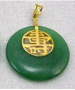 GEMSTONE GREEN JADE Good luck,long life gold copper PENDANT NECKLACE PIN... - $14.99