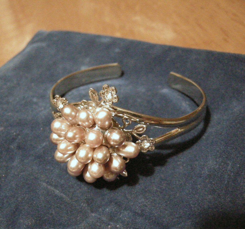 Bangle Bracelet  Purple Pearl Flower Swarovski Crystals