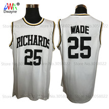 HIGHT QUALITY #25 Wade Richards High School Basketball Stitched White Je... - $38.90