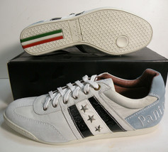 Pantofola d'Oro Italia leather Casual men shoes off white/Light Blue siz... - $118.79