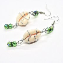 EARRINGS THE ALUMINIUM LONG 3 1/8in WITH SEASHELLS HEMATITE AND CRYSTAL GREEN image 4