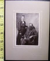 Cabinet Card Photo Neat Old Couple Man w/Long Beard! c.1915  - $4.80