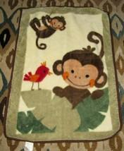 Lambs & Ivy Brown Monkey Red Bird Plush Baby Blanket Leaves - $28.70