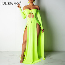 JULISSA MO Red Sexy Off Shoulder Split Bodycon Dress Women Slash Neck Backless  - $43.99+