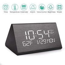 Wooden Digital Alarm Clock, 2019 Updated Voice Command Electric LED Beds... - $31.34
