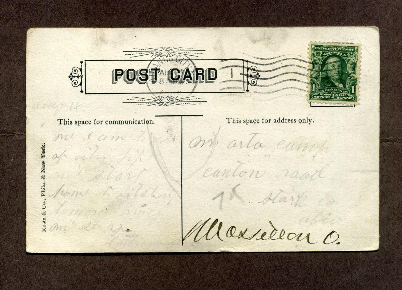Vintage Postcard 1900s 1909 Youngs Pier Atlantic City NJ New Jersey Boardwalk