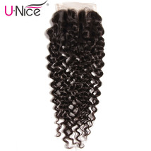 UNICE Hair Peruvian Curly Hair Closure Three Part 120% Density Human Hai... - $131.72