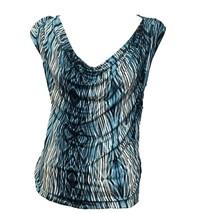 Derek Lam Design Nation Womens Blue Print Cowl Neck Short Sleeve Top Sz S - $12.87