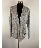 Coldwater Creek Womens Cardigan Sweater L Large 14 Gray Space Dye Button... - $39.59