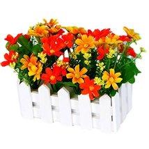 George Jimmy Artificial Flowers Arrangement Room Components Wood Fence Floral De - $25.73