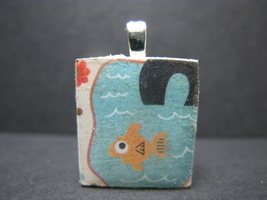 Gold Fish - Scrabble Tile Pendant - $5.00