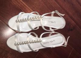 Caparros Sandals Mid Heel Pearl Wedge Ivory Sullivan Wedding Shoes NIB - $22.50