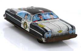Vintage Police Highway Patrol Friction Tinplate Toy Car Japan 60's - $20.95