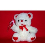 Valentine's Day teddy bear with Love Hug Hearts, white 7 inches 1995 - $10.00