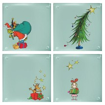 How The Grinch Stole Christmas Art Images 4 Piece Set of Clear Glass Coa... - $11.64