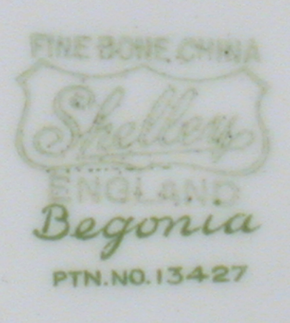 Shelley Begonia Oleander Shape Saucer w Blue Edge 13427