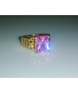 Square pink tourmaline solitaire cz gold ladies ring  7  thumbtall