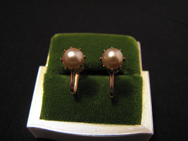 Antique Victorian Gold Tone and Cream Faux Pearl Stud Screwback Earrings - $18.75