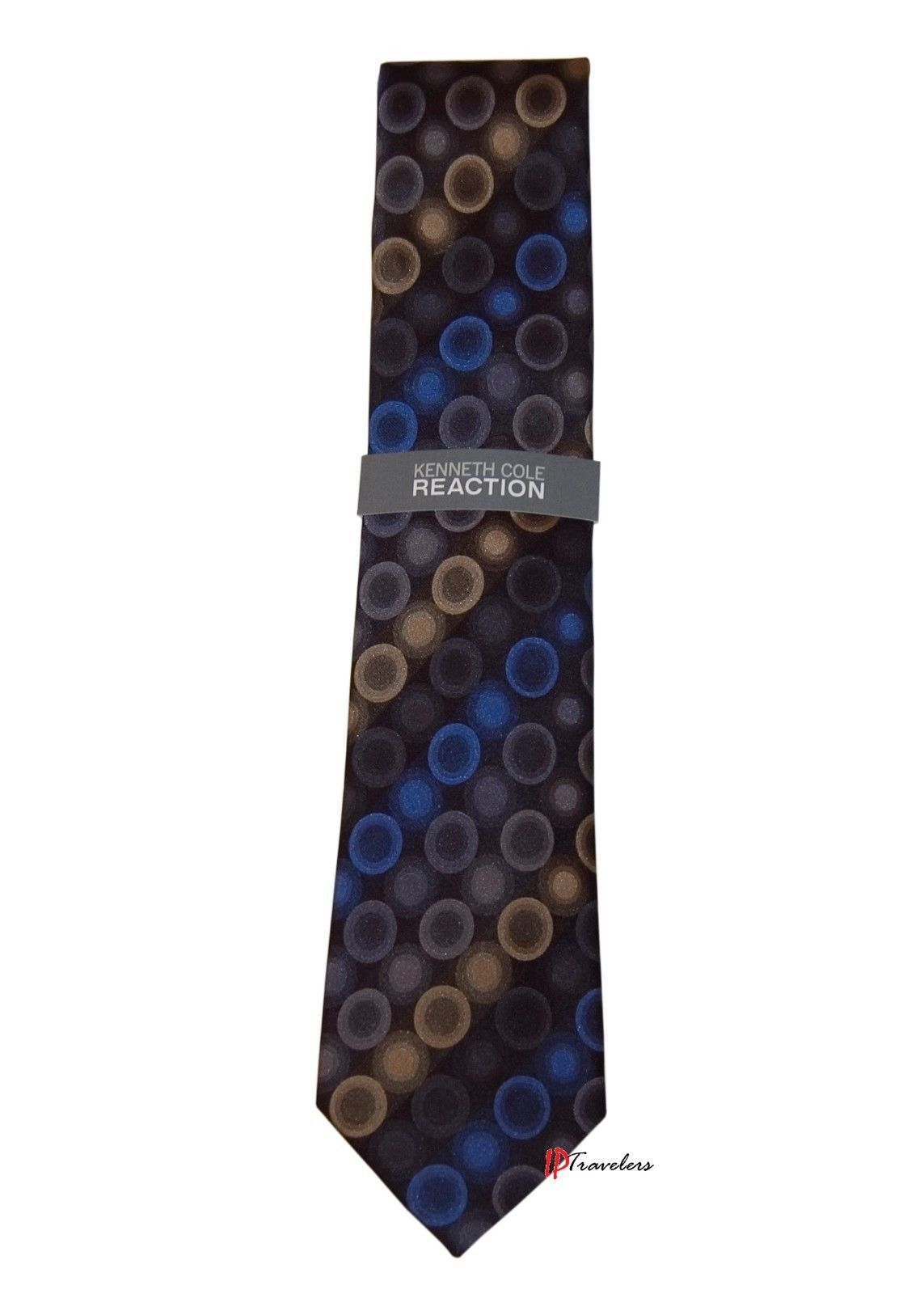 Kenneth Cole Reaction Men's Neck Tie Black with Blue Yellow Dots 100% Silk $55