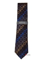 Kenneth Cole Reaction Men's Neck Tie Black with Blue Yellow Dots 100% Silk $55 - $22.00