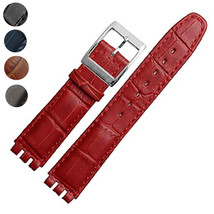 17mm Genuine Leather Standard Swatch Replacement Watch Band Strap Black ... - $25.99