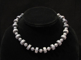 Vintage 1977 Sarah Coventry Stone Age Blue Marble Lucite Bead Choker Necklace - $9.25