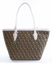 DKNY Donna Karan Heritage Brown White Canvas Shopper Tote Bag Medium Han... - $260.28