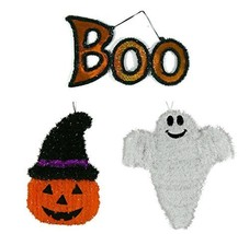 Halloween Friendly Tinsel Wall Plaque Decoration Bundle. The set include... - $22.75