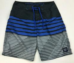 Ae American Eagle Black Blue Gray Striped Men's Board Shorts Swim Beach Sz M - $21.78